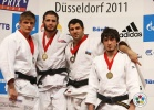 Travis Stevens (USA), Murat Khabachirov (RUS), Elnur Mammadli (AZE), Arsen Pshmakhov (RUS) - Grand Prix Düsseldorf (2011, GER) - © IJF Media Team, International Judo Federation