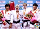 Kayla Harrison (USA), Xiuli Yang (CHN), Lucie Louette (FRA), Zhang Zhanjie (CHN) - Grand Prix Qingdao (2011, CHN) - © IJF Media Team, International Judo Federation