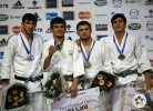Rishod Sobirov (UZB), Hovhannes Davtyan (ARM), Amiran Papinashvili (GEO), Georgii Zantaraia (UKR) - Grand Slam Paris (2011, FRA) - © IJF Media Team, International Judo Federation