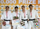 Ilgar Mushkiyev (AZE), Giorgi Mesablishvili (GEO), Mohamed Elhadi ElKawisah (LBA), Orkhan Safarov (AZE) - Grand Prix Baku (2012, AZE) - © IJF Media Team, International Judo Federation