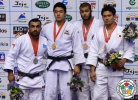 Ilias Iliadis (GRE), DongHan Gwak (KOR), Quedjau Nhabali (UKR), Takeshi Sugahara (JPN) - Grand Prix Jeju (2013, KOR) - © IJF Media Team, International Judo Federation