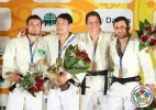 Amartuvshin Dashdavaa (MGL), Askhat Telmanov (KAZ), Robert Mshvidobadze (RUS), Pavel Petrikov (CZE) - IJF Grand Slam Baku (2013, AZE) - © IJF Media Team, International Judo Federation