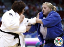 Megumi Tachimoto (JPN), Svitlana Iaromka (UKR) - Grand Prix Budapest (2014, HUN) - © IJF Media Team, International Judo Federation