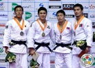 Won Jin Kim (KOR), Ryoya Kawano (JPN), Amartuvshin Dashdavaa (MGL), Kherlen Ganbold (MGL) - Grand Prix Jeju (2014, KOR) - © IJF Media Team, International Judo Federation
