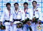 Amartuvshin Dashdavaa (MGL), Diyorbek Urozboev (UZB), Gumar Kyrgyzbayev (KAZ), Kherlen Ganbold (MGL) - Grand Prix Tashkent (2014, UZB) - © IJF Media Team, International Judo Federation