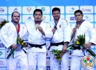 Temuulen Battulga (MGL), Daniel Allerstorfer (AUT), Barna Bor (HUN), Elyor Masharipov (UZB) - Grand Prix Tashkent (2014, UZB) - © IJF Media Team, International Judo Federation