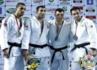 Zviad Gogotchuri (GEO), Walter Facente (ITA), Vadym Synyavsky (UKR), Kirill Denisov (RUS) - Grand Prix Tbilisi (2014, GEO) - © IJF Media Team, International Judo Federation