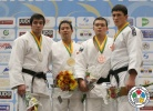 Ryutaro Goto (JPN), Niyaz Ilyasov (RUS), Ramazan Malsuigenov (RUS), Aaron Wolf (JPN) - World Championships Juniors Fort Lauderdale (2014, USA) - © IJF Media Team, International Judo Federation