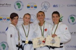Zhanna Stankevich (ARM), Ilse Heylen (BEL), Abi Betsabe Cardozo Madaf (ARG), Ecaterina Guica (CAN) - African Open Port Louis (2015, MRI) - © African Judo Union