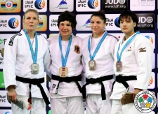 Laura Vargas Koch (GER), Kim Polling (NED), Chizuru Arai (JPN), Katarzyna Klys (POL) - Grand Slam Abu Dhabi (2015, UAE) - © IJF Media Team, International Judo Federation