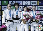 Urantsetseg Munkhbat (MGL), Charline Van Snick (BEL), Julia Figueroa (ESP), Shira Rishony (ISR) - Grand Slam Paris (2015, FRA) - © IJF Media Team, International Judo Federation
