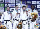 Varlam Liparteliani (GEO), Alexandre Iddir (FRA), Célio Dias (POR), Otgonbaatar Lkhagvasuren (MGL) - Grand Slam Paris (2015, FRA) - © IJF Media Team, International Judo Federation