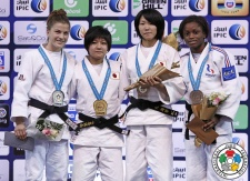 Marusa Stangar (SLO), Mikoto Tsunemi (JPN), Funa Tonaki (JPN), Sephora Corcher (FRA) - World Championships Juniors Abu Dhabi (2015, UAE) - © IJF Media Team, International Judo Federation