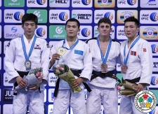 Magzhan Shamshadin (KAZ), Ha-Rim Lee (KOR), Amartuvshin Bayaraa (MGL), Irakli Kupatadze (GEO) - World Championships Juniors Abu Dhabi (2015, UAE) - © IJF Media Team, International Judo Federation