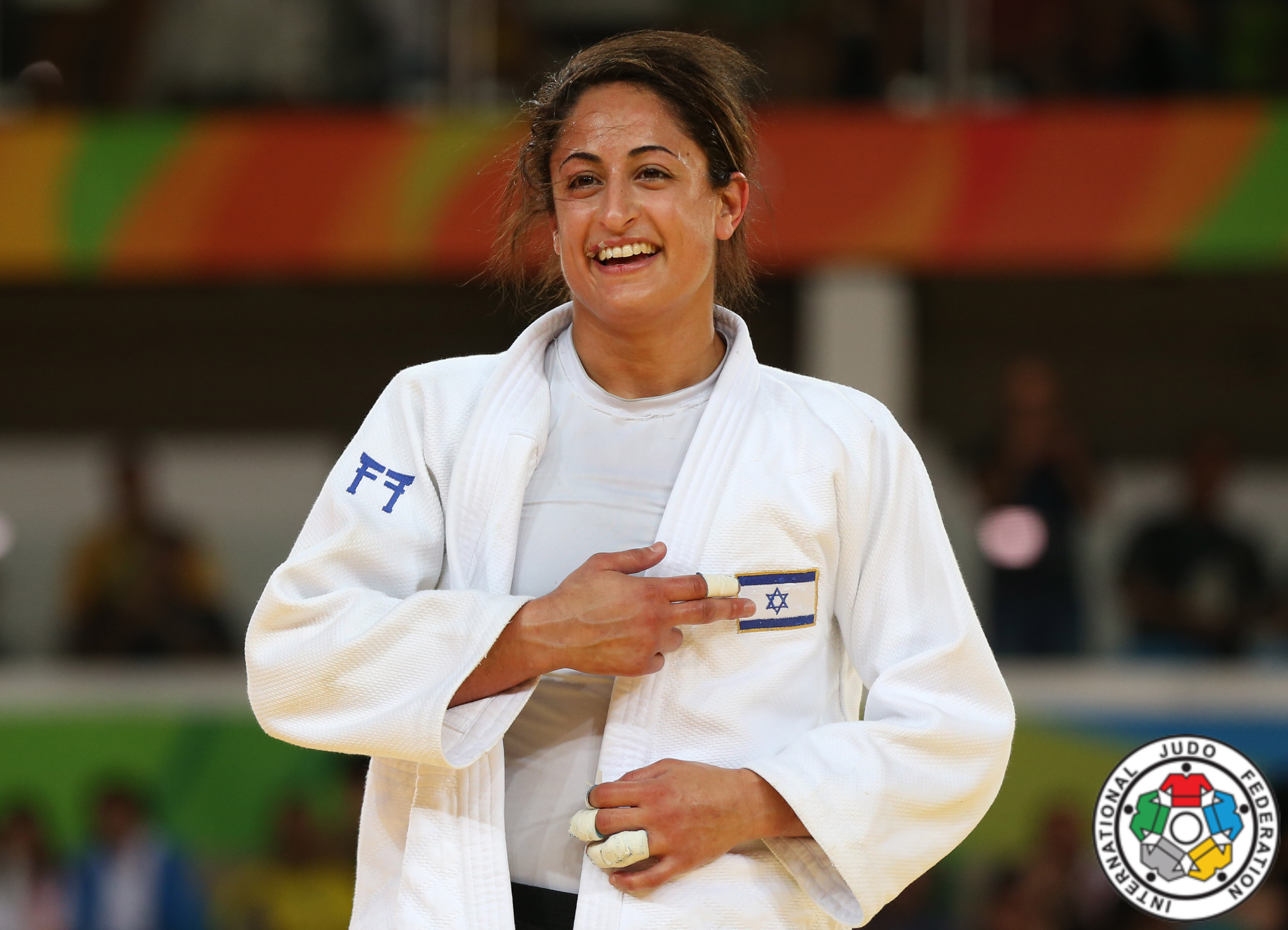 JudoInside - News - Yarden Gerbi auctioned her Olympic backpatch for