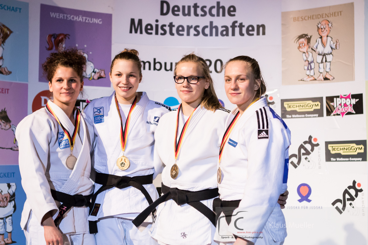 20160124_Hamburg_day2-57kg Johanna Mueller (PSV Olympia Berlin), Theresa Stoll (TSV Muenchen Grosshadern), Anne-Sophie Schmidt (SC Lotos Berlin), Jacqeline Lisson (PSV Olympia Berlin)