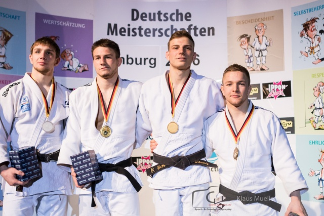 20160124_Hamburg_day2_Podium -73kg Julian Kolein (TSV Muenchen Grosshadern), Anthony Zingg (TSV Bayer 04 Leverkusen), Robert Barwig (TSV Muenchen Grosshadern), Matin Setz (UJKC Potsdam).jpg