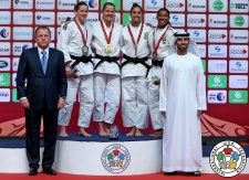 Juul Franssen (NED), Kathrin Unterwurzacher (AUT), Mariana Silva (POR), Ketleyn Quadros (BRA) - Grand Slam Abu Dhabi (2016, UAE) - © IJF Media Team, International Judo Federation