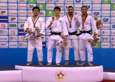 Chang-Rim An (KOR), Soichi Hashimoto (JPN), Mohammad Mohammadi (IRI), Hidayet Heydarov (AZE) - Photos with JudoInside news (2016, NED) - © IJF Media Team, International Judo Federation