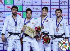 Khasan Khalmurzaev (RUS), Takeshi Sasaki (JPN), Alan Khubetsov (RUS), SeungSu Lee (KOR) - Grand Prix Hohhot (2018, CHN) - © IJF Media Team, International Judo Federation