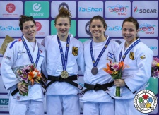 Theresa Stoll (GER), Helene Receveaux (FRA), Timna Nelson Levy (ISR), Amelie Stoll (GER) - Grand Prix Tbilisi (2018, GEO) - © IJF Media Team, International Judo Federation