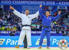 Saeid Mollaei (IRI), Sotaro Fujiwara (JPN) - World Championships Baku (2018, AZE) - © IJF Media Team, International Judo Federation