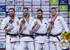 Peter Paltchik (ISR), Varlam Liparteliani (GEO), Arman Adamian (RUS), Michael Korrel (NED) - Grand Slam Paris (2020, FRA) - © IJF Gabriela Sabau, International Judo Federation